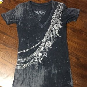 Affliction black grey distressed t-shirt small